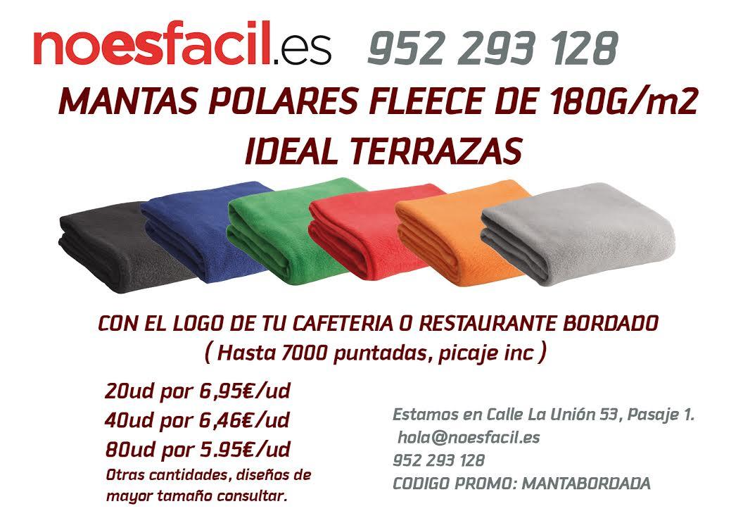 Manta bordada para terrazas (hostelería y restauración) en noesfacil.es